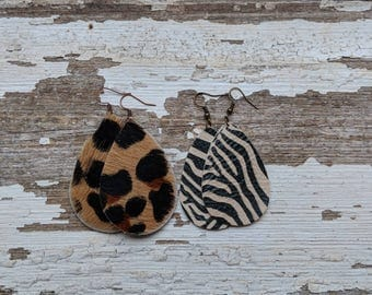 Animal Print Leather Earrings/Leather Statement Earrings/Gift For Her/Boho Jewelery