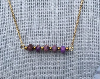 Purple Marbled Dainty Chain Necklace