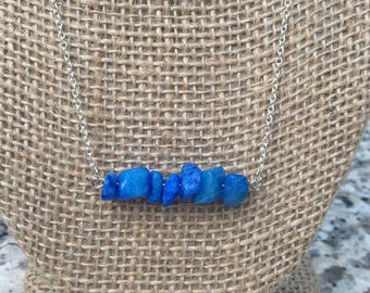 Bright Blue Beaded Dainty Chain Necklace