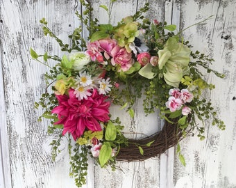 A Spring or Summer Large Floral Wreath, Dahlia Grapevine Door Wreath, Mother's Day, Easter Wreath, Farmhouse Wreath, Wall Wreath