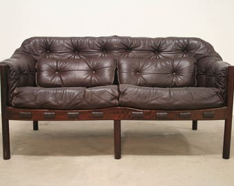 Vintage Mid Century Design Sofa Arne Norell COJA Two Seater Couch Leather  Sofa Leather Sofa