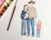 Portrait, Watercolor Portrait, Family Portrait, Custom Art, Family Memories Portrait, Wedding Gift, Family Painting