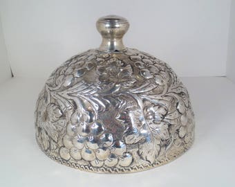 Silver Plated Cheese Dome with Grape Pattern, Charcuterie Board Dome