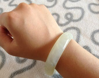 White Jade Bracelet/Jade Bangle/Jade Accessory handmade genuine jade small size