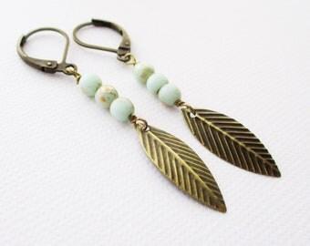 mint feather earrings, mint earrings, feather earrings, boho jewelry / owlsnroses