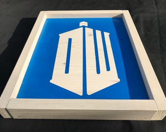 "Ready To Ship - ""DW"" TARDIS - Doctor Who Inspired Wood Sign"