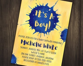 It's A Boy Baby Shower Invitation, Boy Baby Shower Invitation, Baby Shower  For Boy, Blot, Watercolor, Blue And Yellow, Baby Shower