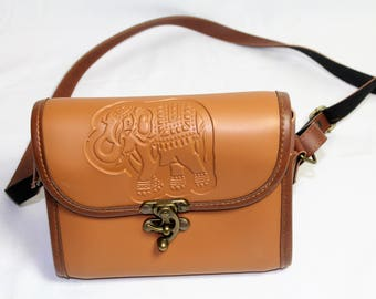 Brown Tooled Leather Elephant Bag