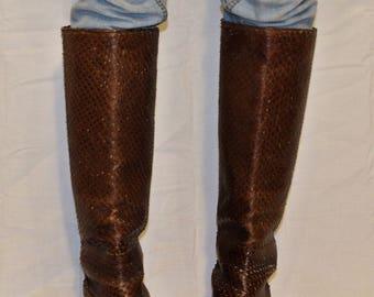 Vintage Brown Italian Snakeskin Boots