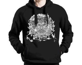 """The Old Norse 2 - Viking Hoodie """"The wind may veer"""" - hand drawn and unique"""
