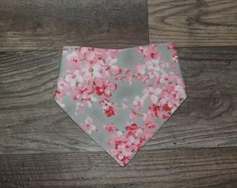 Bandana Bib   Cherry Blossom   Bibdana   Teething   Baby   Floral   Drool Bib   Kenton Creations   Perfect Gift   Handmade in Canada