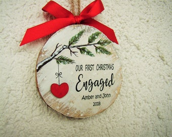 Engagement Gift, Engagement Ornament, Engaged Christmas Ornament, Personalized Wood Ornament, Hanpainted Ornament, Newly Engaged Gift