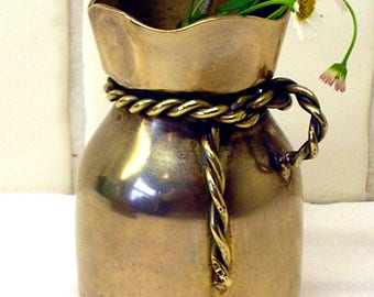 Vintage Messing Vase Mit Seilgriff. Messing Mais Sack / Mehl Sack Geformt  Topf