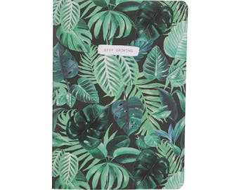 """Botanical Jungle Leaf A5 Plain Notebook """"Keep Growing"""""""
