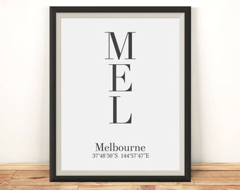 Melbourne print, Melbourne poster, Melbourne wall art, Melbourne coordinates, Melbourne art, Melbourne printable, Melbourne Australia, Print