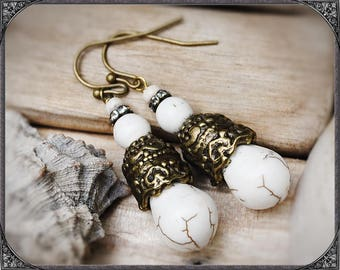 Cream-bronze coloured earrings BOHO