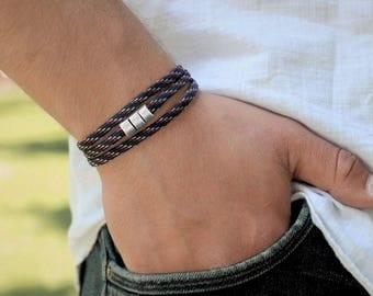 Men's Bracelet Paracord  Wrap Bracelet Vegan Bracelet Mens Paracord Wrap Bracelet Boyfriend Gift Mens Triple Wrap Bracelet Magnetic