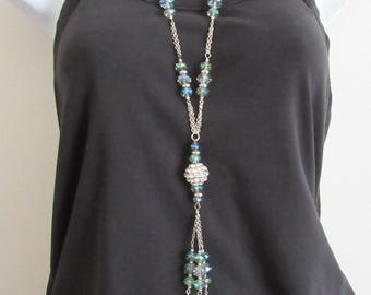 Extra long flapper style crystal covered ball Y chain necklace blure rainbow beads