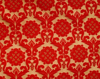 Half Yard of Golden and Red Brocade Silk Fabric by the yard