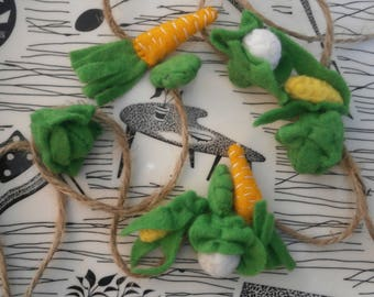 Miniature felt vegetables garland