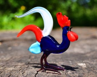 Blue Glass rooster New Years 2017 gift animal collectible figurine rooster hen cock in glass gift child girl gift Chinese New Year gift chic