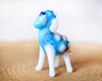 Glass blue sheep figurine sheep animals glass sheep sculpture art glass small sheep toy murano sheep animals tiny small sheep figure toys