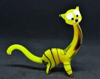 Glass yellow cat figurine cat animals glass cat miniature art glass sculpture cat toy murano cat animals big cat figure glass gift
