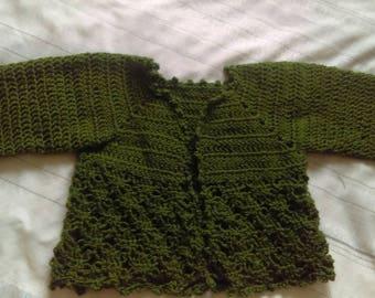 Green Crocheted baby jacket