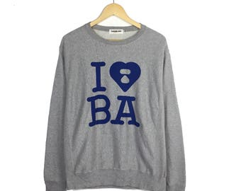 Rare!! A Bathing Ape Sweatshirt I Love BA Bape Sweatshirt Big Logo Made In Japan bape pullover bape hoodie bape sweater bape jumper bape