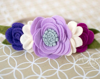 Baby Headband-Felt Flower Headband Purple, Violet, Lavender, Plum - Baby Girl Headband-Headband-Baby Headband-Newborn Headband