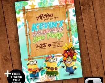 Minions Luau Invitation with FREE Thank You Card - Minions Invite - Minions Birthday Invitation - Birthday Party - Digital File Download