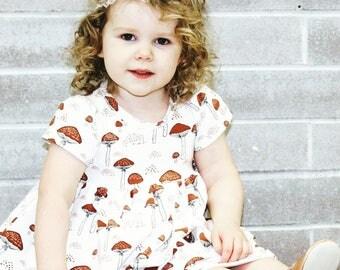 Hazelbee dress, toadstool dress, toddler dress, girl dress