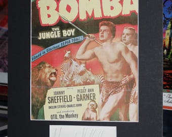 Johnny Sheffield Autograph Signed index card and matted to the size of 11x14 BOY BOMBA The Jungle Boy