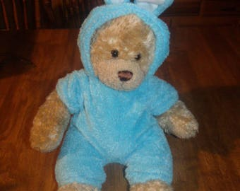 Tan Build-A-Bear - Retired Curly Bear - October 1997 - Light Blue Bunny Costume