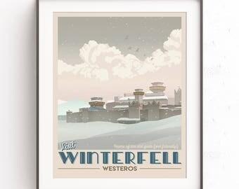Snowy Winterfell travel poster. Game of Thrones illustration. Jon Snow. Fantasy world travel poster. GOT minimalist. Westeros. TV show