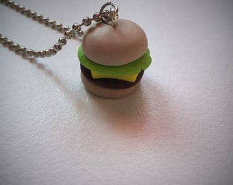 Hamburger on chain necklace has ball