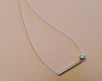 Sterling silver bar and bead pendant necklace   contemporary handmade chain
