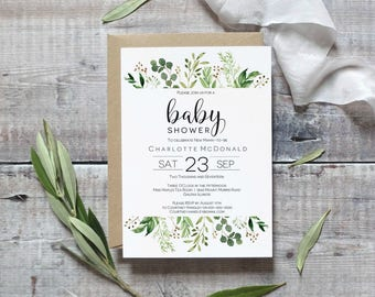 Greenery  Baby Shower Invitation Template, Printable Eucalyptus theme Editable Invitation, Instant Download PDF WLP401