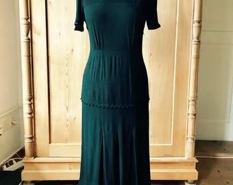 Art Deco 1930s 1940s black rayon crepe dress