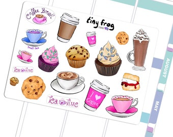 Coffee and Cake! Mixed Sticker Set for Break Time.
