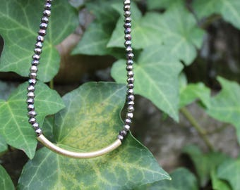 Pyrite Gold Tube Necklace