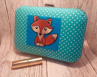 SALE Cute Fox bag, Large Clutch bag, handbag, prom, wedding