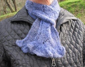 Hand knit scarf/Hand spun scarf/Baby Alpaca scarf/Lacy scarf/winter scarf/wool scarf