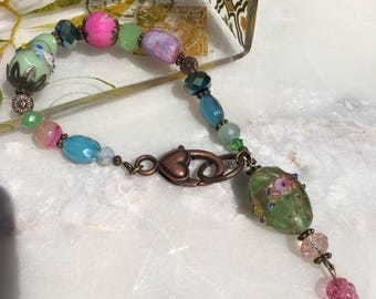 Beaded Gemstone Bracelet, Pink and Green, Beaded Jewelry, Vintage Inspired, Heart Clasp Bracelet, Charms, Bohemian Gypsy Wild at Heart Women