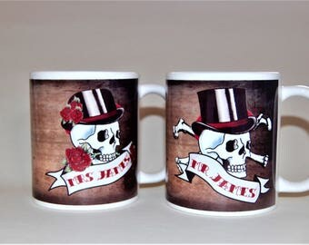 Mr and Mrs Mugs Skull and date banners customised to order wedding mugs anniversary mugs his and hers mugs mr and mrs wedding mugs