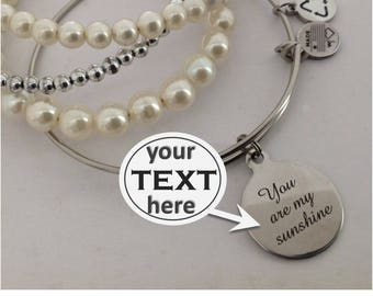 Personalized, Your Text Here, Engraved Charm, Custom, Your Initial, Your Text, Engraving, Stainless Charm
