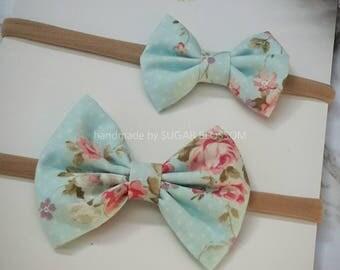 Skyblue Flowers Printed Hair Bow - Medium or Small - Baby headband - Girls headband - Fabric bow - Hair clip - Hair Accessories