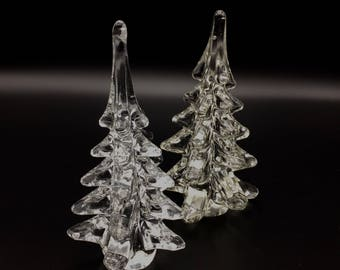 Glass Christmas Tree - A Pair in fact of Clear Murano-Style Sommerso Sculptures, Holiday Centerpieces. Tablescape for a Vintage Holiday.