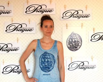 Organic woodblock printed t-shirt- The ship