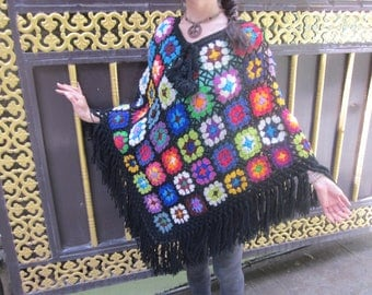 Poncho* Ponchos* Woolen Ponchos* Hand Knitting Ponchos *Hippie Clothing* Flower Poncho* Festival Clothing* Jackets & Coat* Nepal